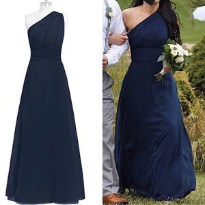 "Azazie Bridesmaid Long Dress Dark Navy ""Ashley"" 4"